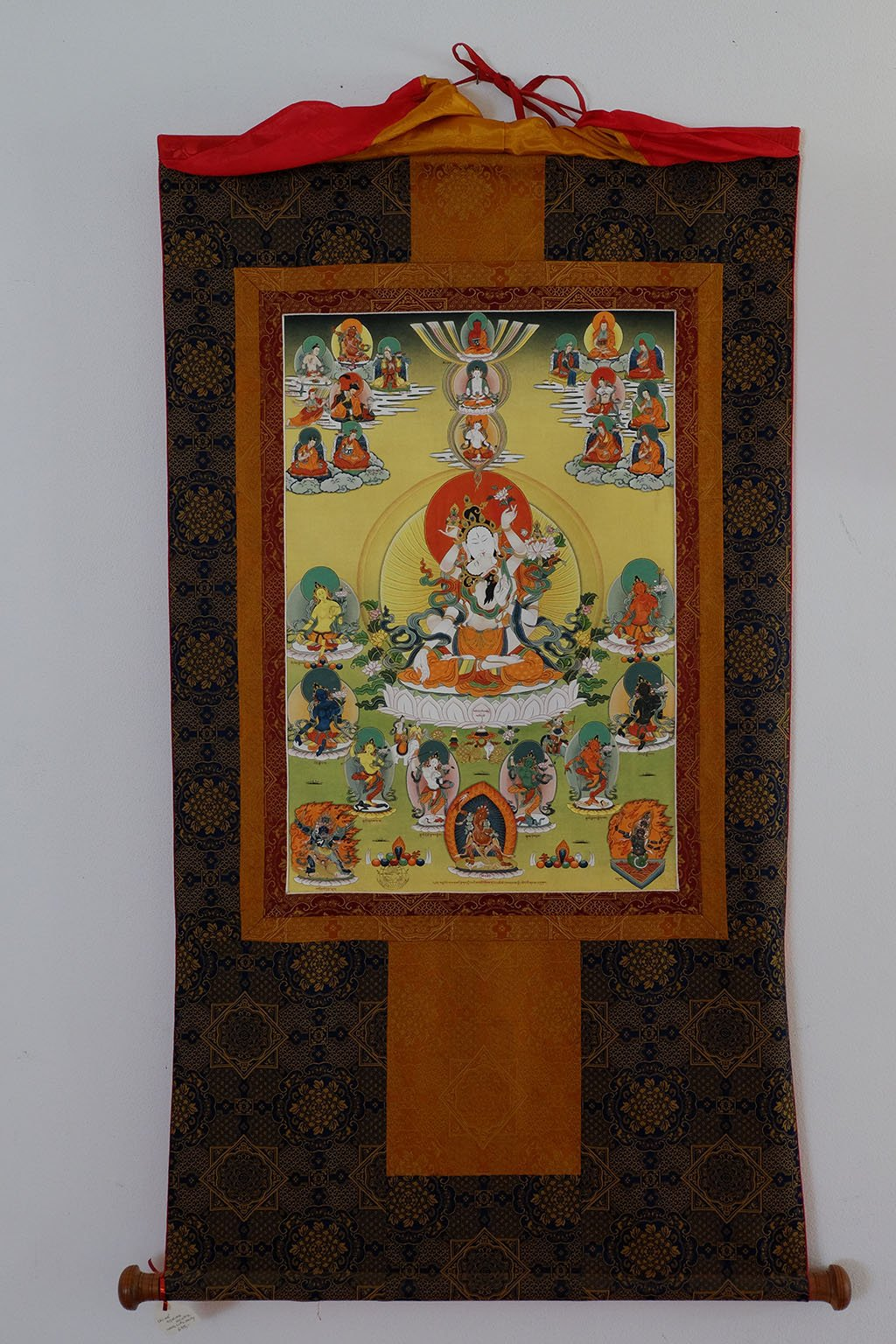 Chimé Gyalwa Nyintik - Long Life Deity (White Tara Elaborated) Thangka