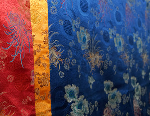 Large Table Cloth – Red, Orange & Blue Brocade