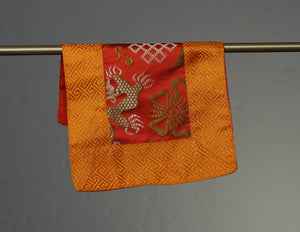 Small Brocade Cloth / Bell & Dorje Mat – Orange & Red