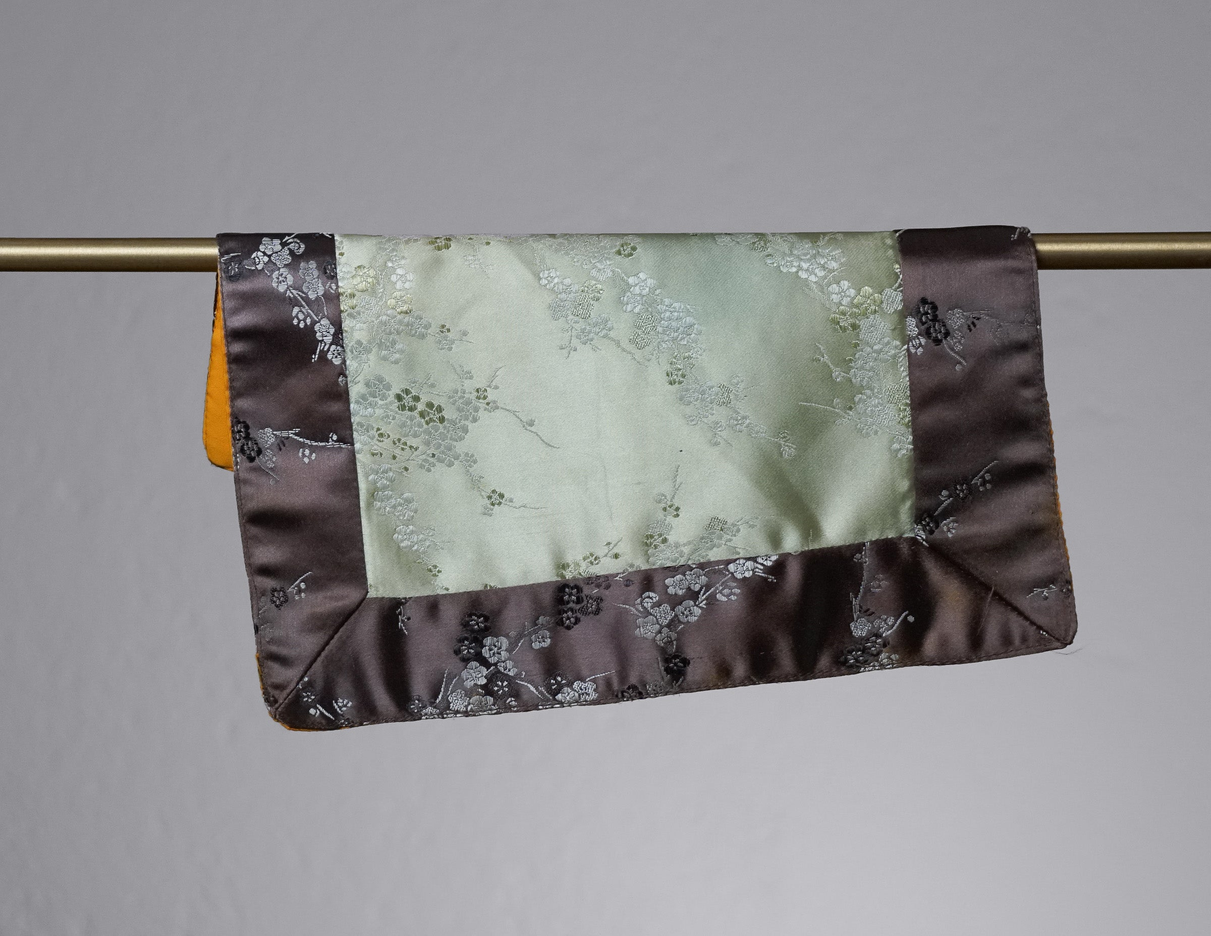Square Brocade Cloth / Bell & Dorje Mat – Brown & Sage