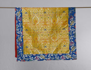 Large Table Cloth – Blue & Yellow Floral Brocade