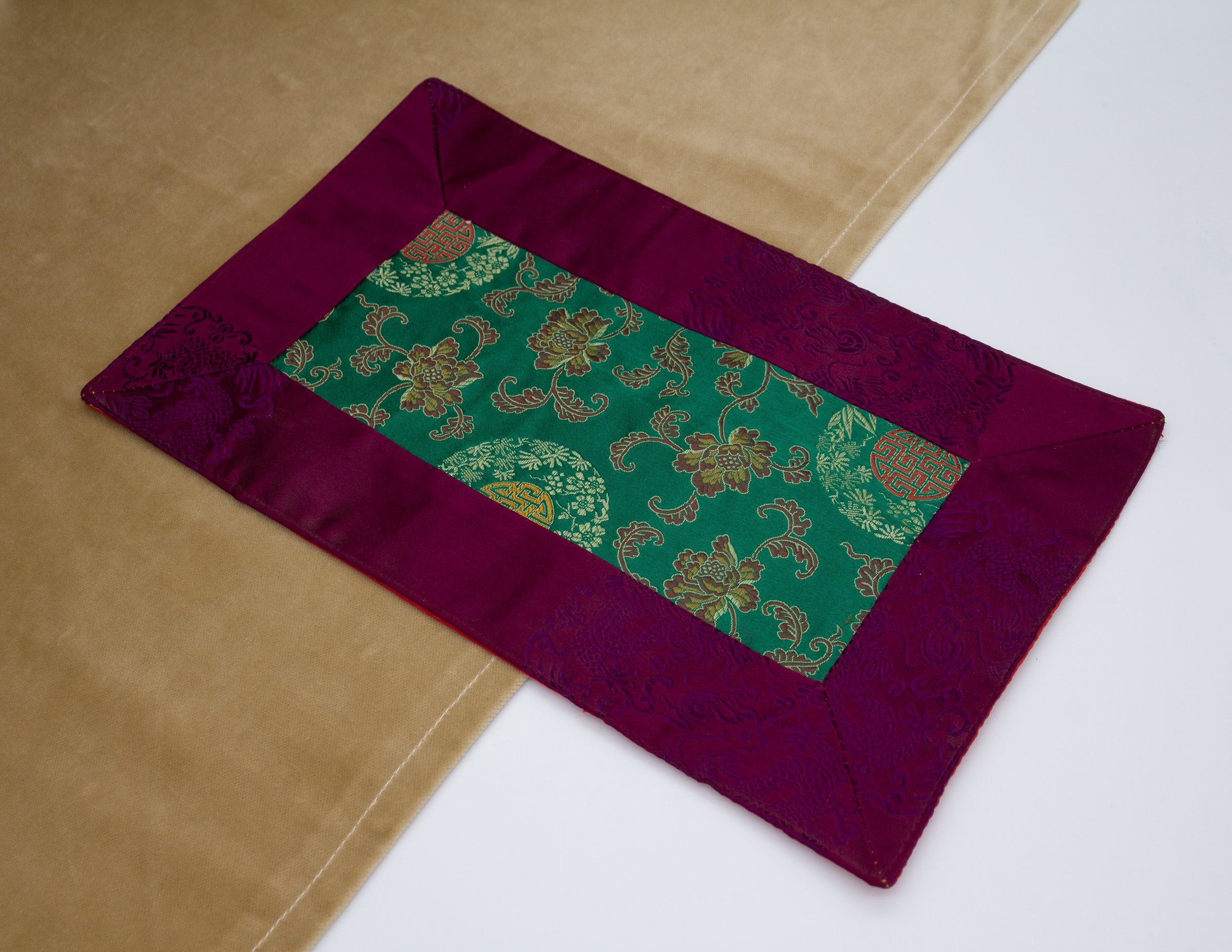 Mini Brocade Cloth / Bell & Dorje Mat – Purple & Green