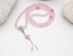 Rose Quartz Mala with Spacer Beads (Small)