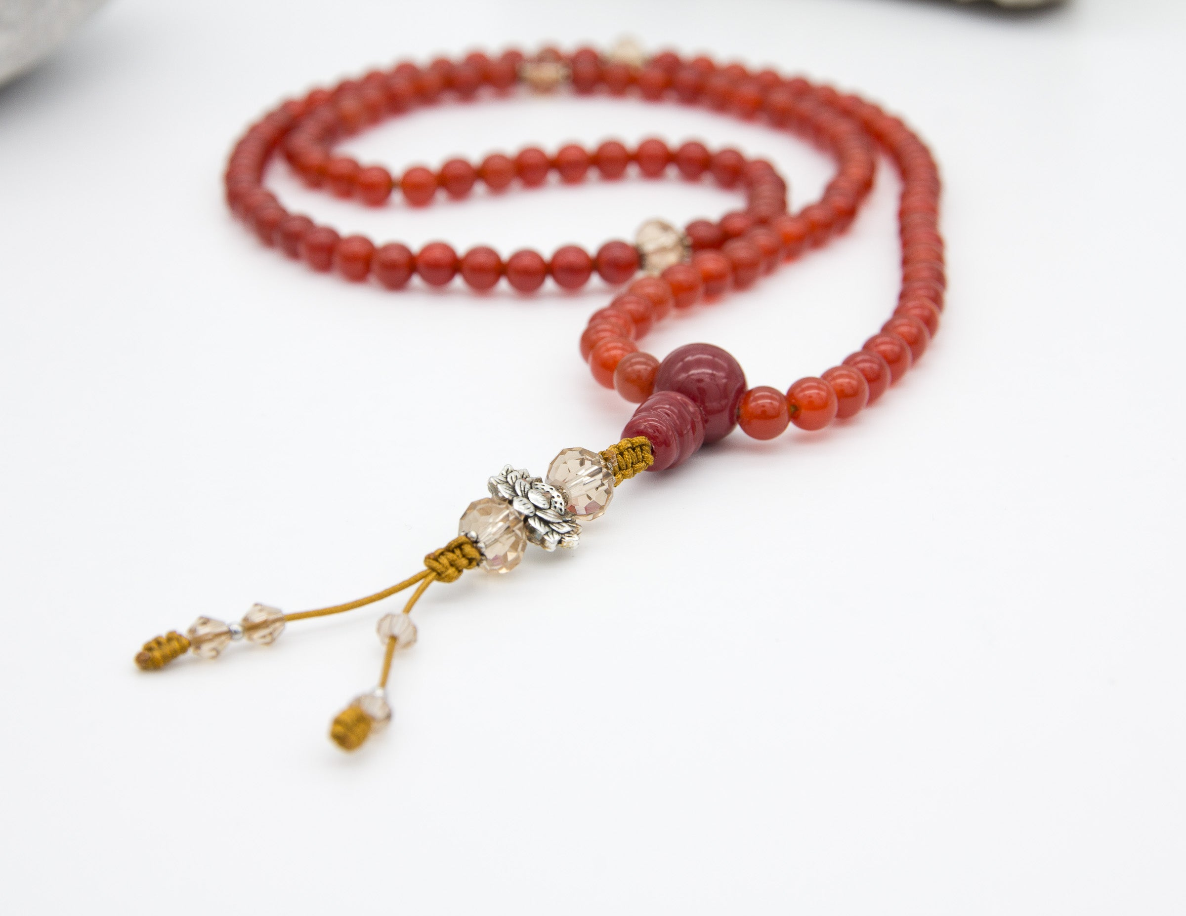 Red Carnelian Mala with Spacer Beads (Small)