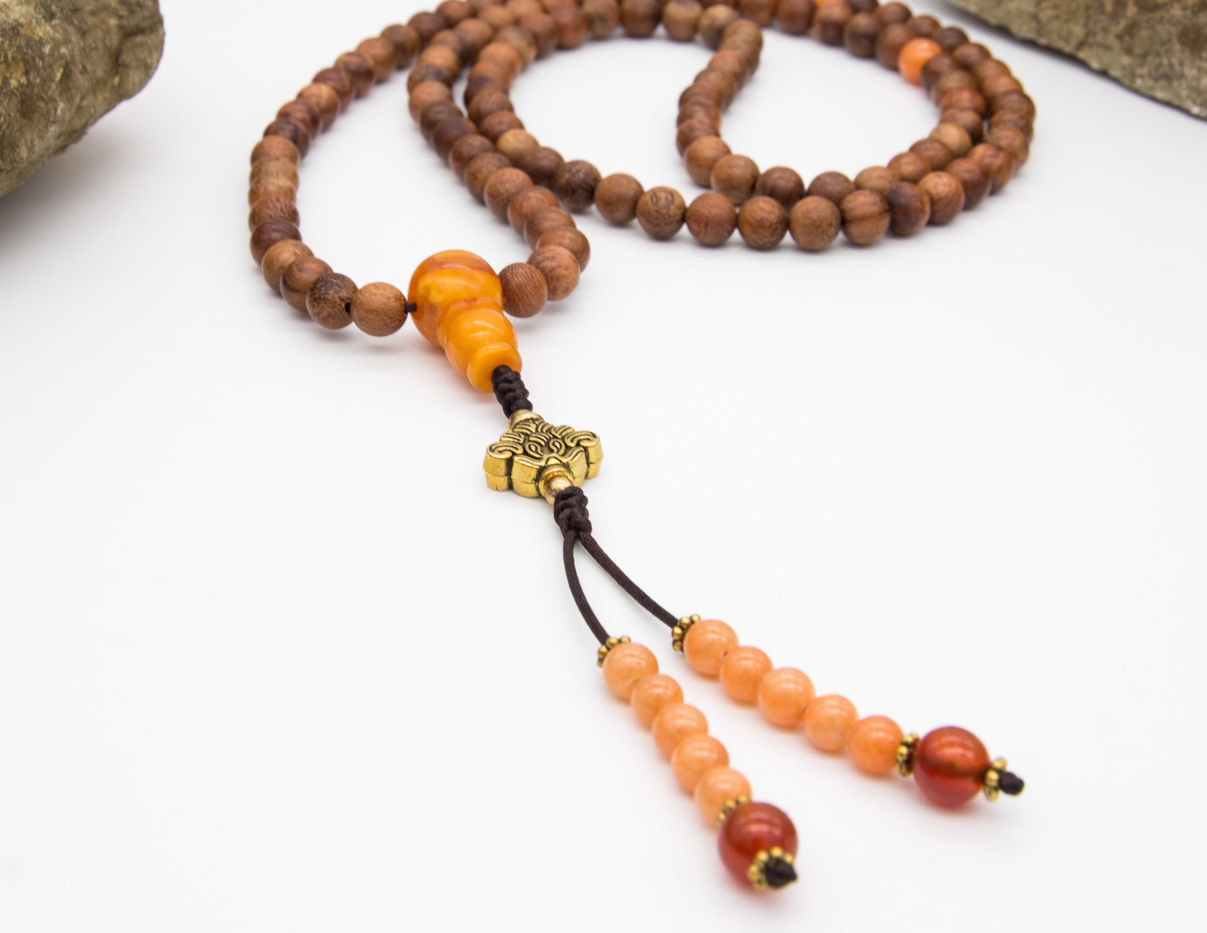 Wood Mala with Spacer Beads – 8mm