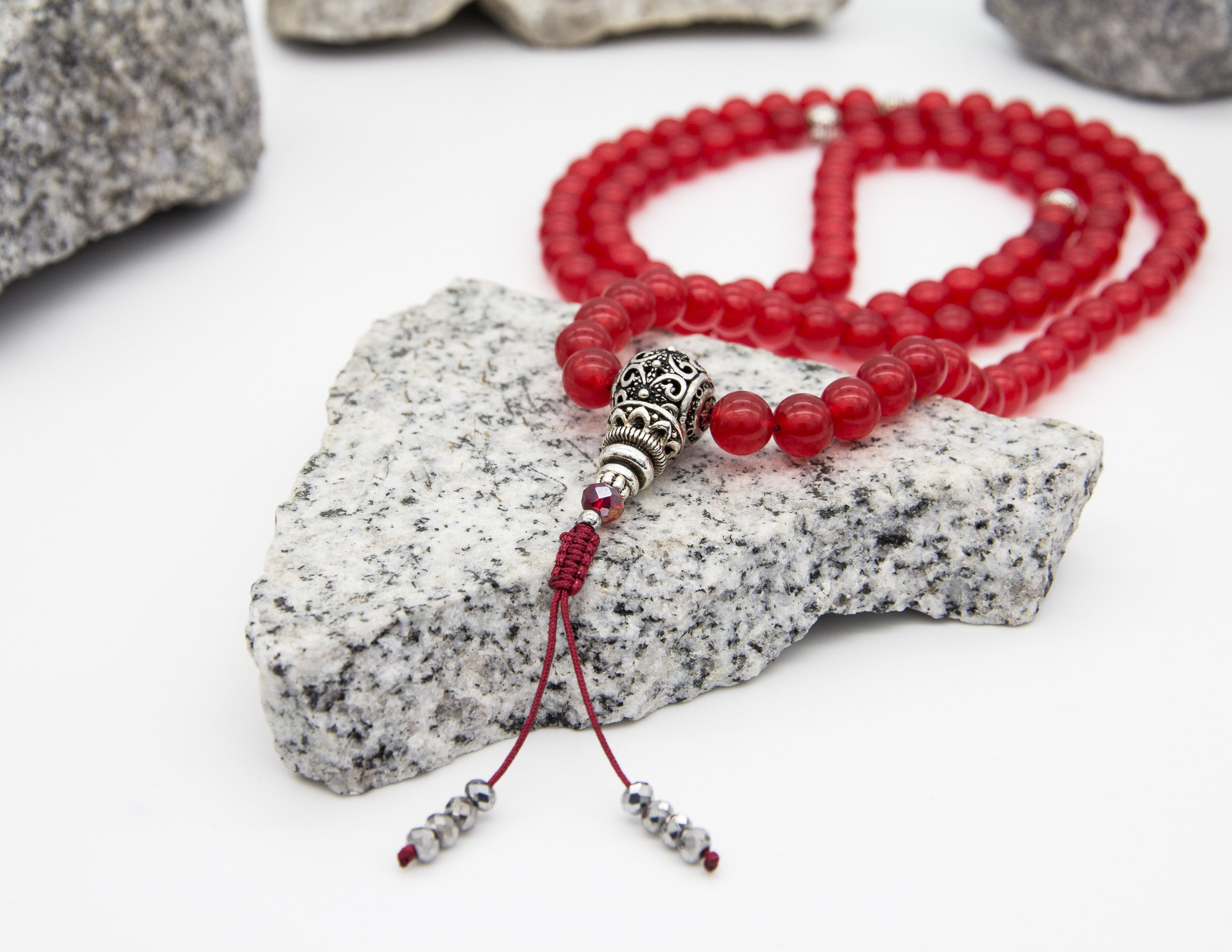 Dark Red Agate Mala with Spacer Beads