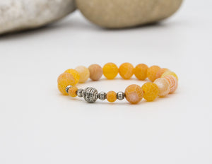 Yellow Crackled Agate Bracelet