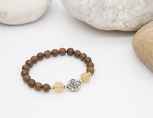 Natural Banded 'Agate Wood' Wrist Mala