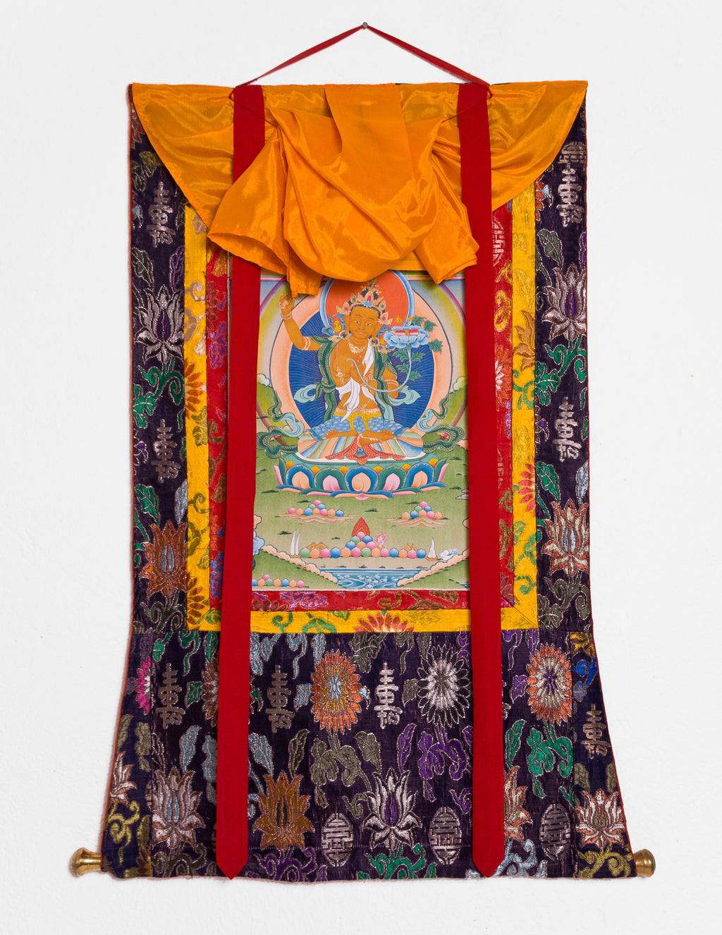 Manjushri Thangka VII mit altem Brokat