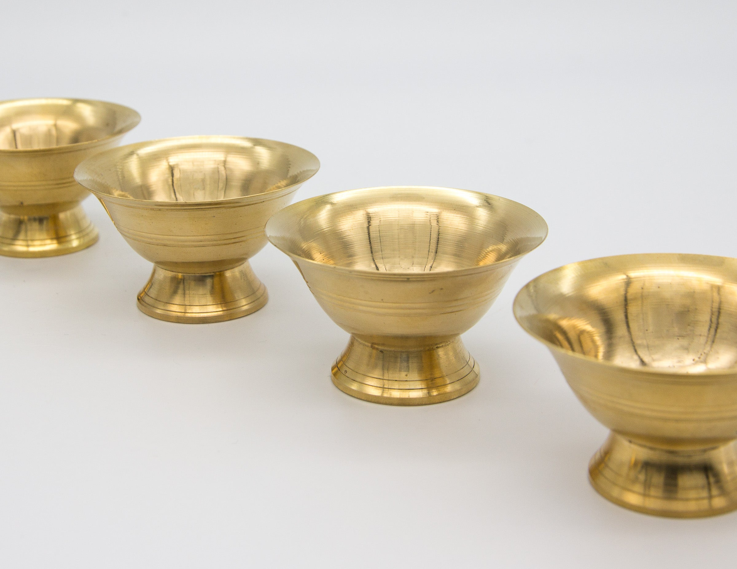 Plain Brass Plated Footed Offering Bowl Set