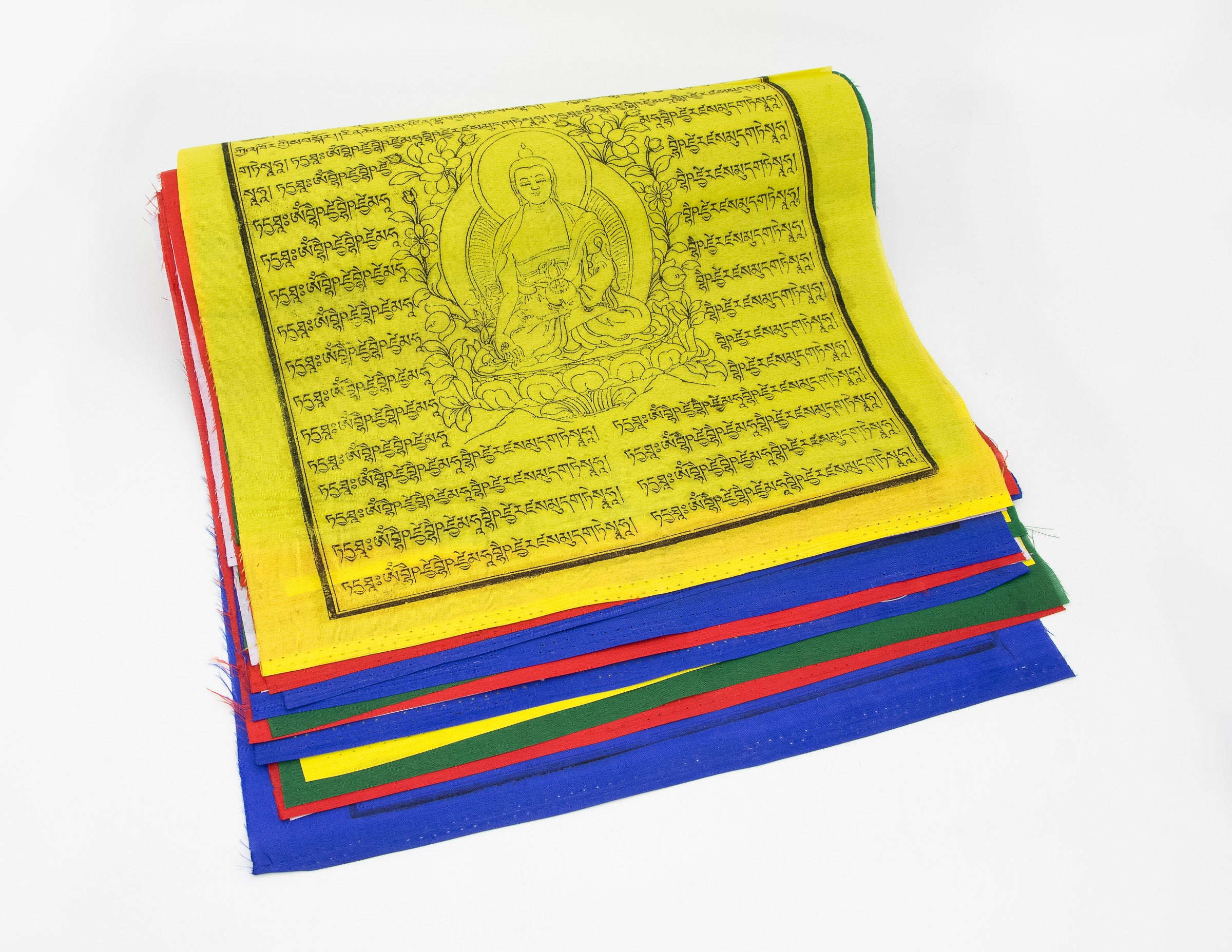 Large Medicine Buddha Prayer Flags, 33x33cm, 9.5m