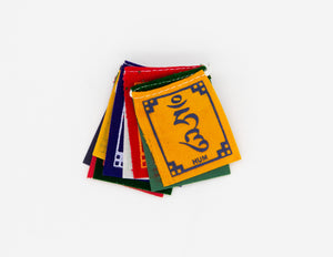 Tiny Om Ma Ni Padme Hum Velveteen Prayer Flags, 4x5cm