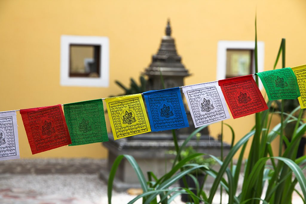 Mini Green Tara Prayer Flags, 7x9cm