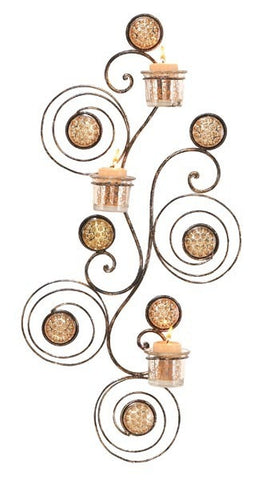 Bronze Circles Three-Light Metal Wall Sconce