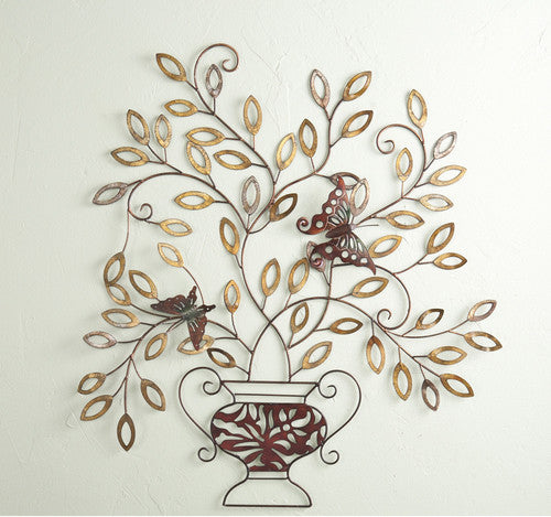 Butterfly Landing Metal Wall Tree Sculpture