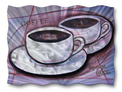 Two Cups Metal Coffee Wall Art
