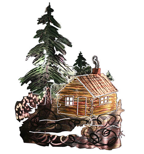 Backwoods Cabin Retreat Metal Wall Sculpture