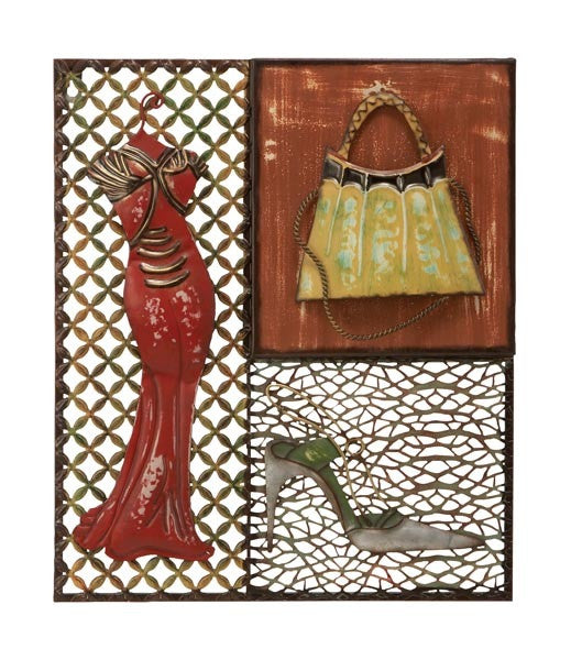 A Night on the Town Red Dress Metal Wall Hanging