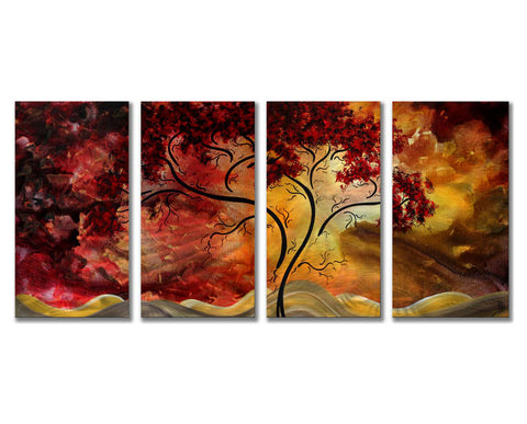 Fiery Forest Abstract 4-Panel Trees Metal Wall Art