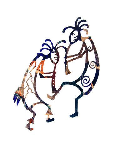 Kokopelli Fire Dance Metal Wall Sculpture