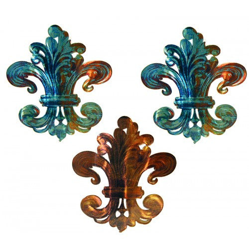 Jewel-Toned Fleur-de-Lis Metal Wall Art Hanging Trio