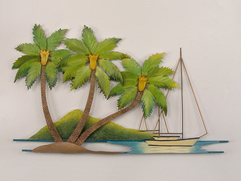Coconut Palm Tree Alcove Metal Wall Hanging