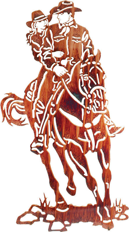 Cowboy and Sweetheart on Horseback Metal Wall Sculpture