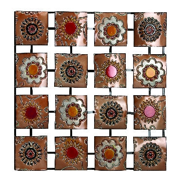 Abstract Floral Grid Contemporary Metal Wall Art