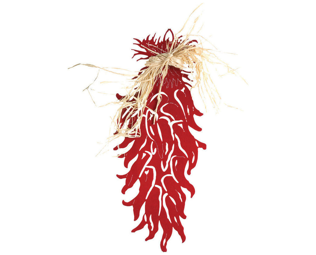 Chili Peppers with Raffia Metal Wall Sculpture
