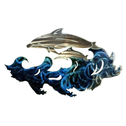 Darting Dolphins Metal Wall Art