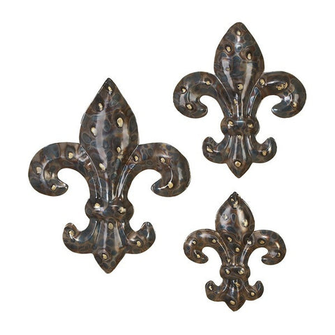 Graduated Fleur-di-lis Metal Wall Plaques Set of 3