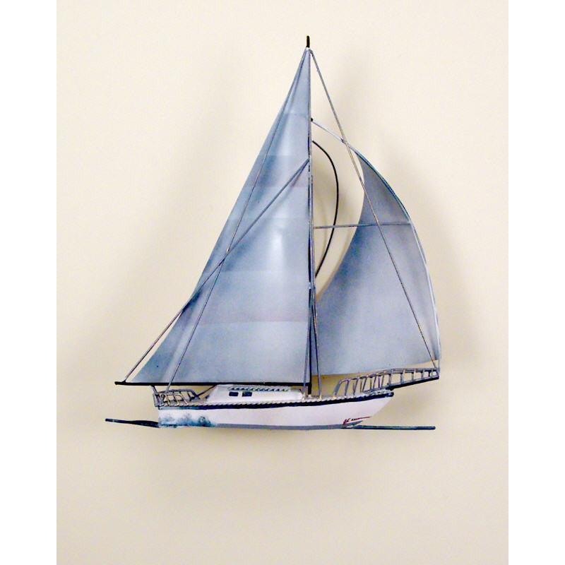 Majestic Sailing Yacht Metal Wall Sculpture
