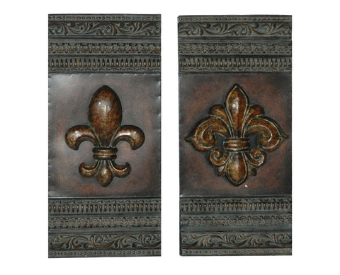 Fanciful Fleur de Lis Metal Wall Art Set of 2