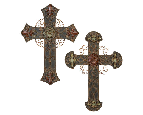Ageless Faith Wall Cross Art Sculpture Pair