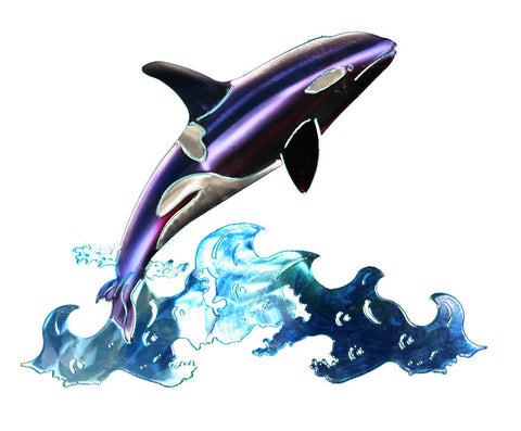Jumping Orca Metal Wall Art Hanging