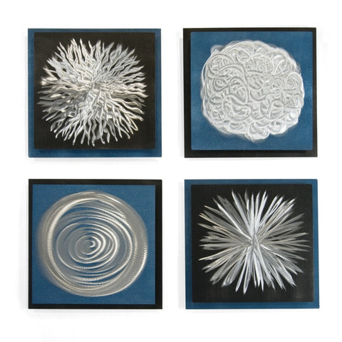 Bursts and Swirls Abstract Wall Hanging Set of 4