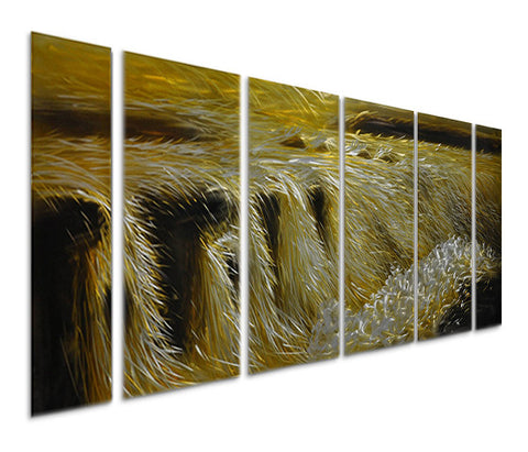 Rapids of Gold Metal Wall Art Set of 6