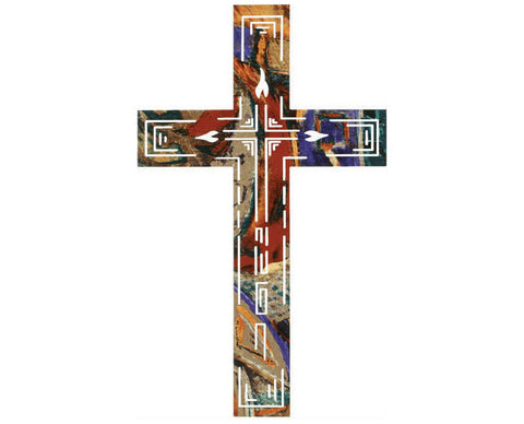 Abstract Metal Wall Cross Hanging