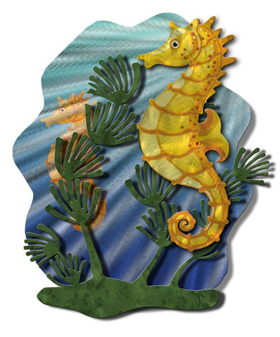 Whimsical Seahorse Handmade Metal Wall Sculpture