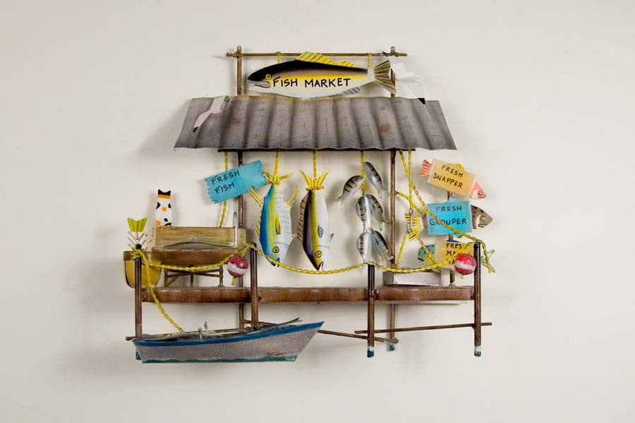 Fun Fish Market Metal Wall Hanging