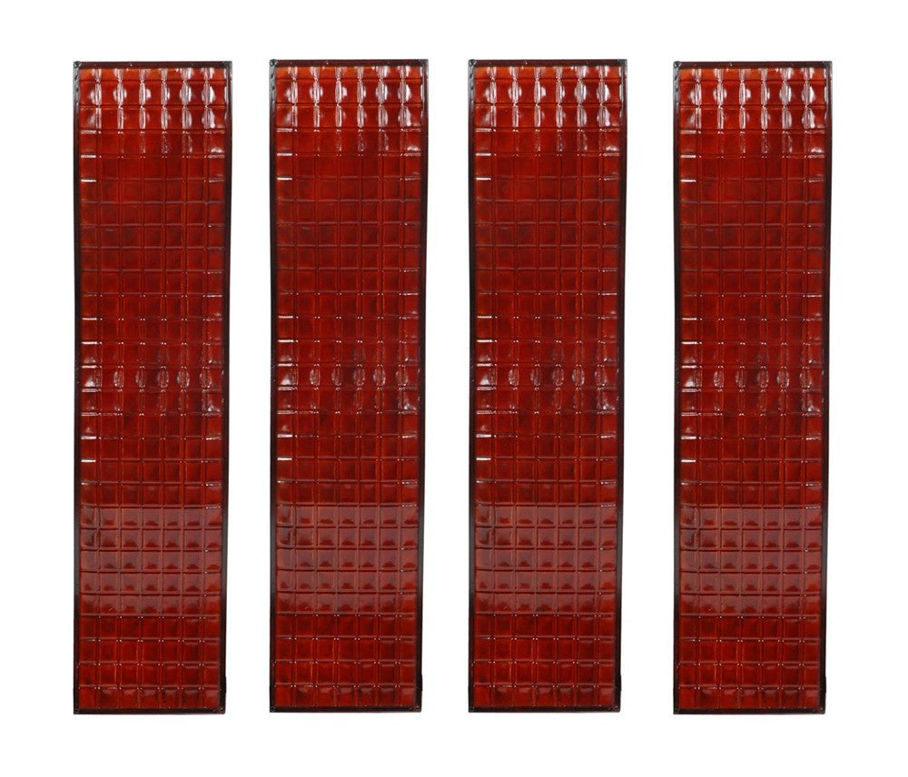 Lacquered Crimson Wall Panels Set of 4