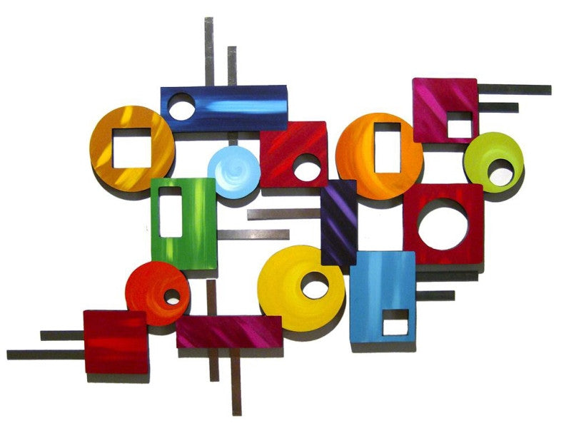 Abstract Shapes Handcrafted Wooden Wall Hanging