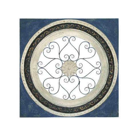 Airy Scrolled Medallion Metal Wall Plaque