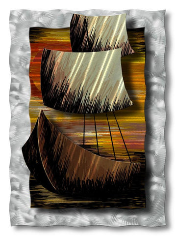 Sunset Ship Handmade Metal Wall Hanging