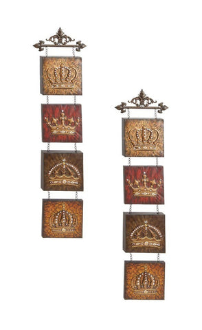 Crowns of the Nobility Metal Wall Hanging Set of 2