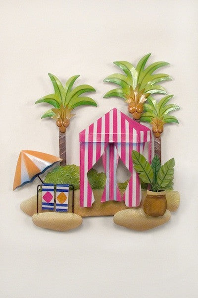Coconut Palms Beach Scene Metal Wall Hanging