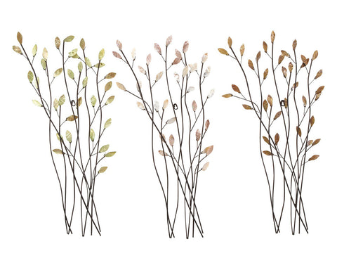 Glistening Leaves Natural Metal Wall Decor Set of 3