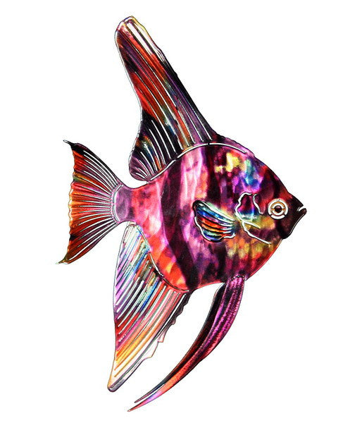 Fish Metal Wall Art rainbow tropical angel fish metal wall art