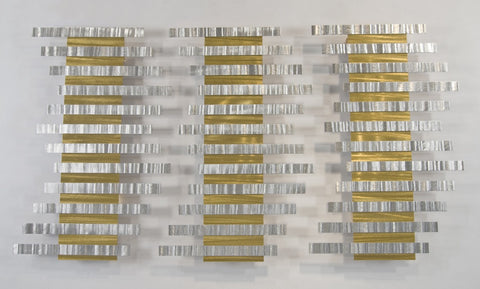 Metallic Gold Bar Abstract Wall Sculpture