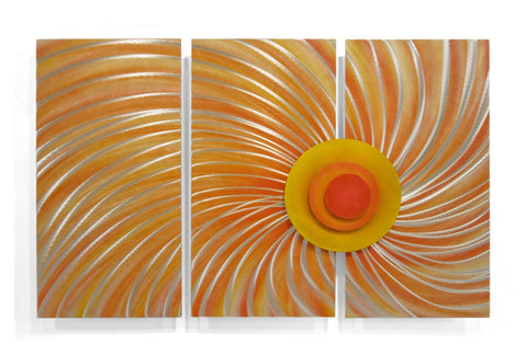 Abstract Sunburst Contemporary Metal Wall Hanging Set of 3